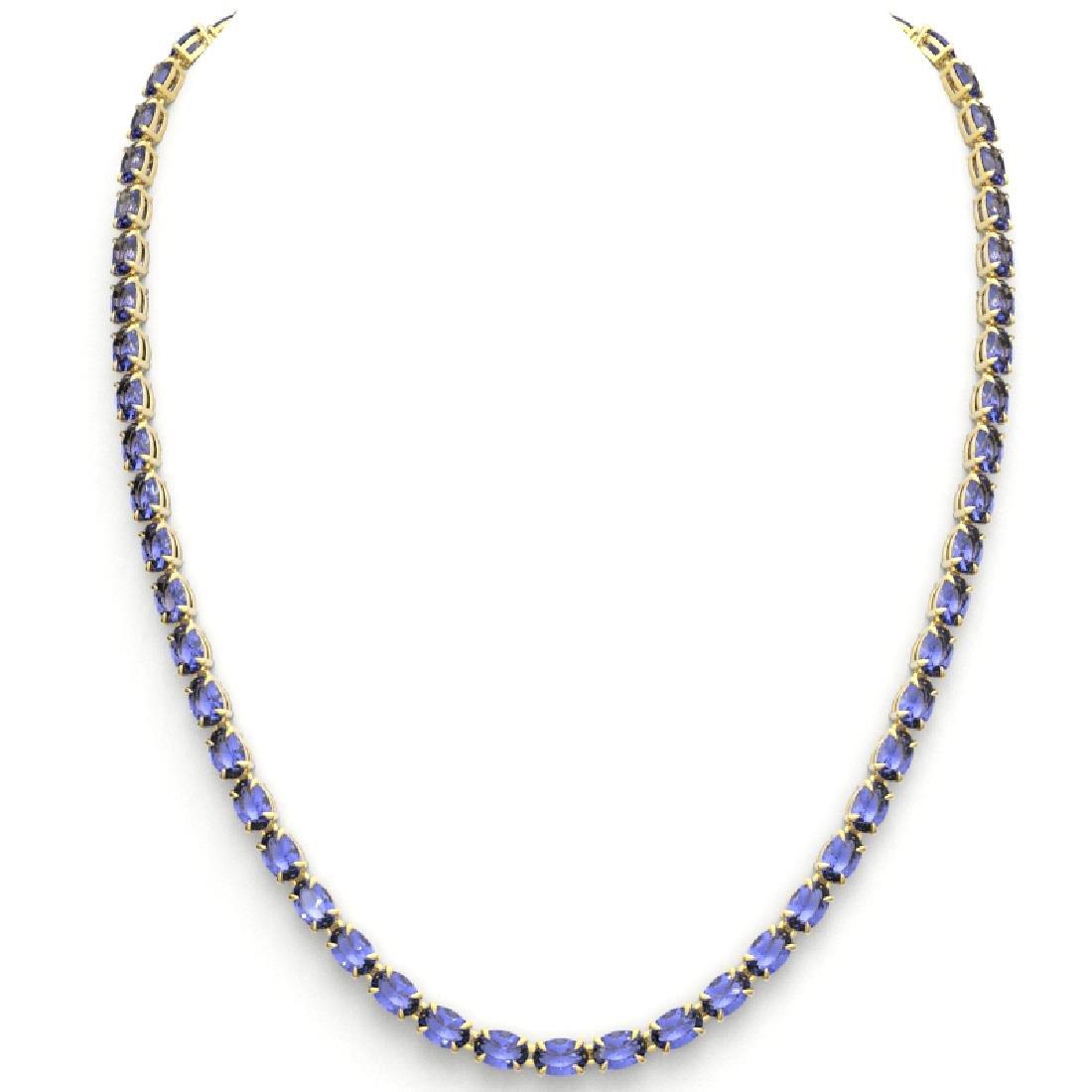 40 CTW Tanzanite Eternity Tennis Necklace 14K Yellow - 3