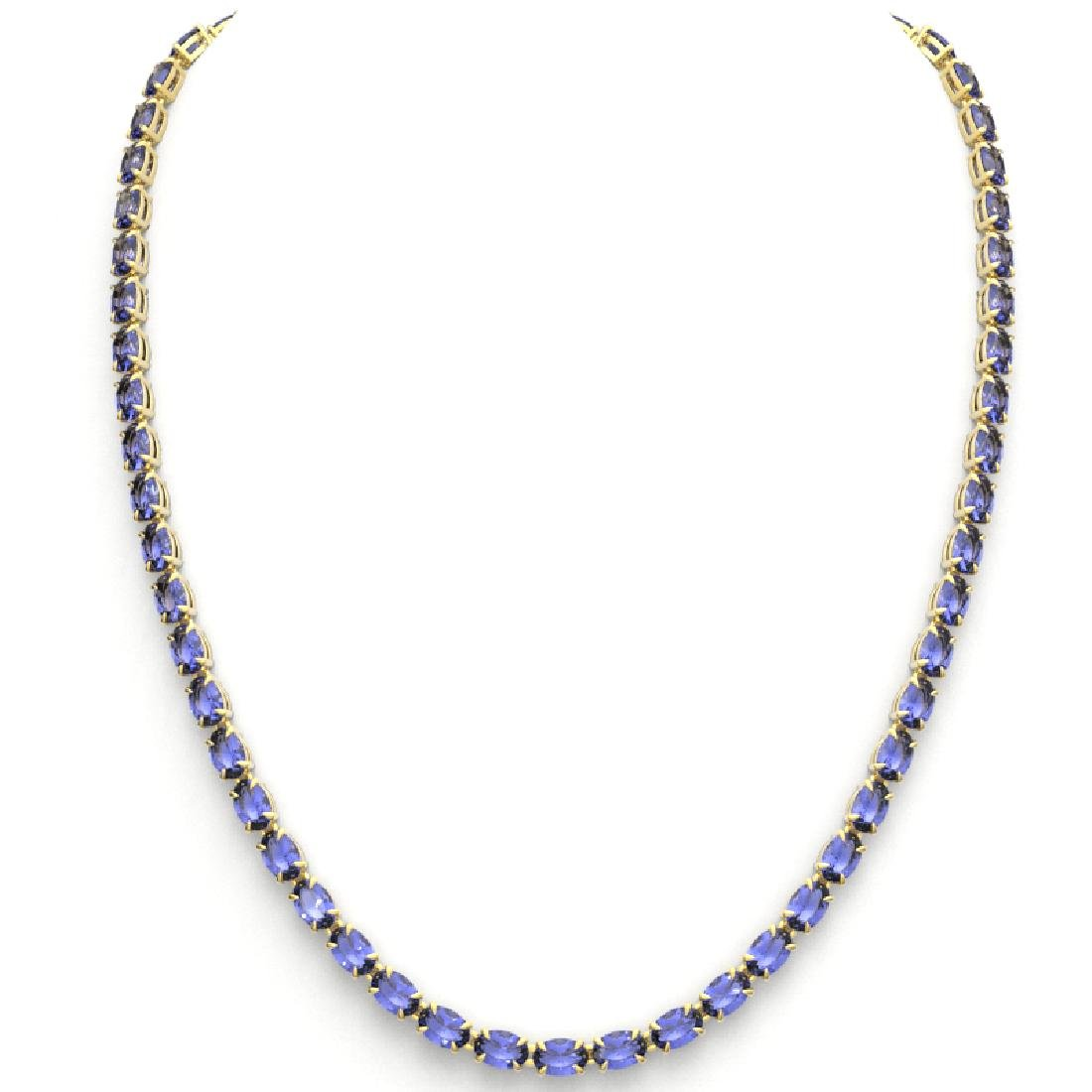 40 CTW Tanzanite Eternity Tennis Necklace 14K Yellow - 3