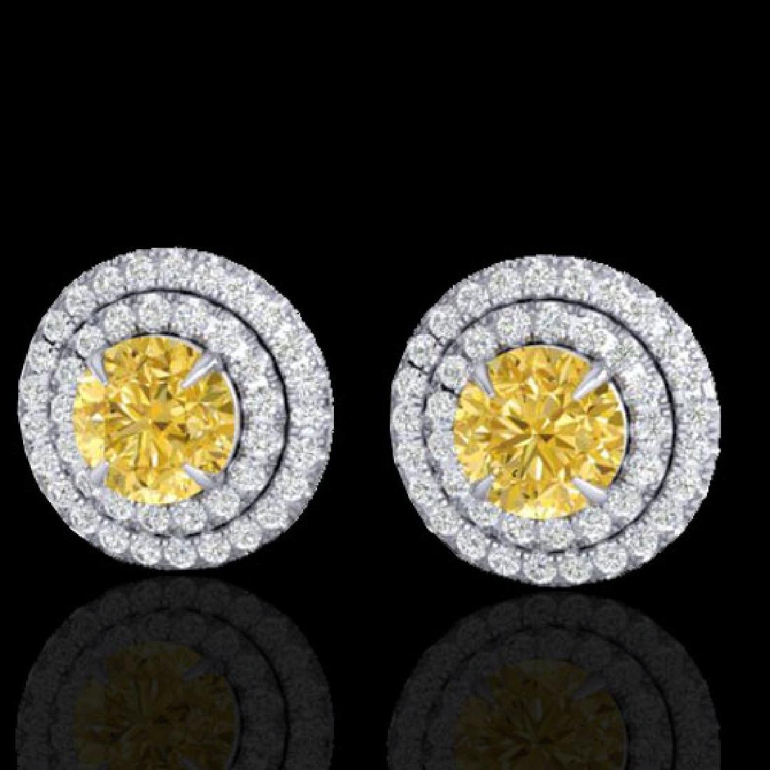 2 CTW Citrine & Micro Pave VS/SI Diamond Stud Earrings