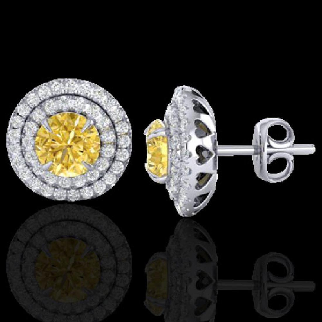 2 CTW Citrine & Micro Pave VS/SI Diamond Stud Earrings - 2
