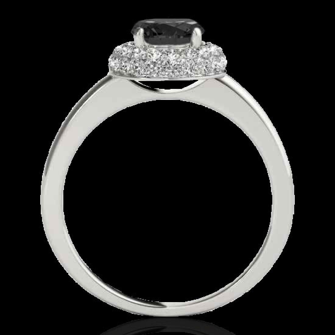 1.43 CTW Certified VS Black Diamond Solitaire Halo Ring - 2