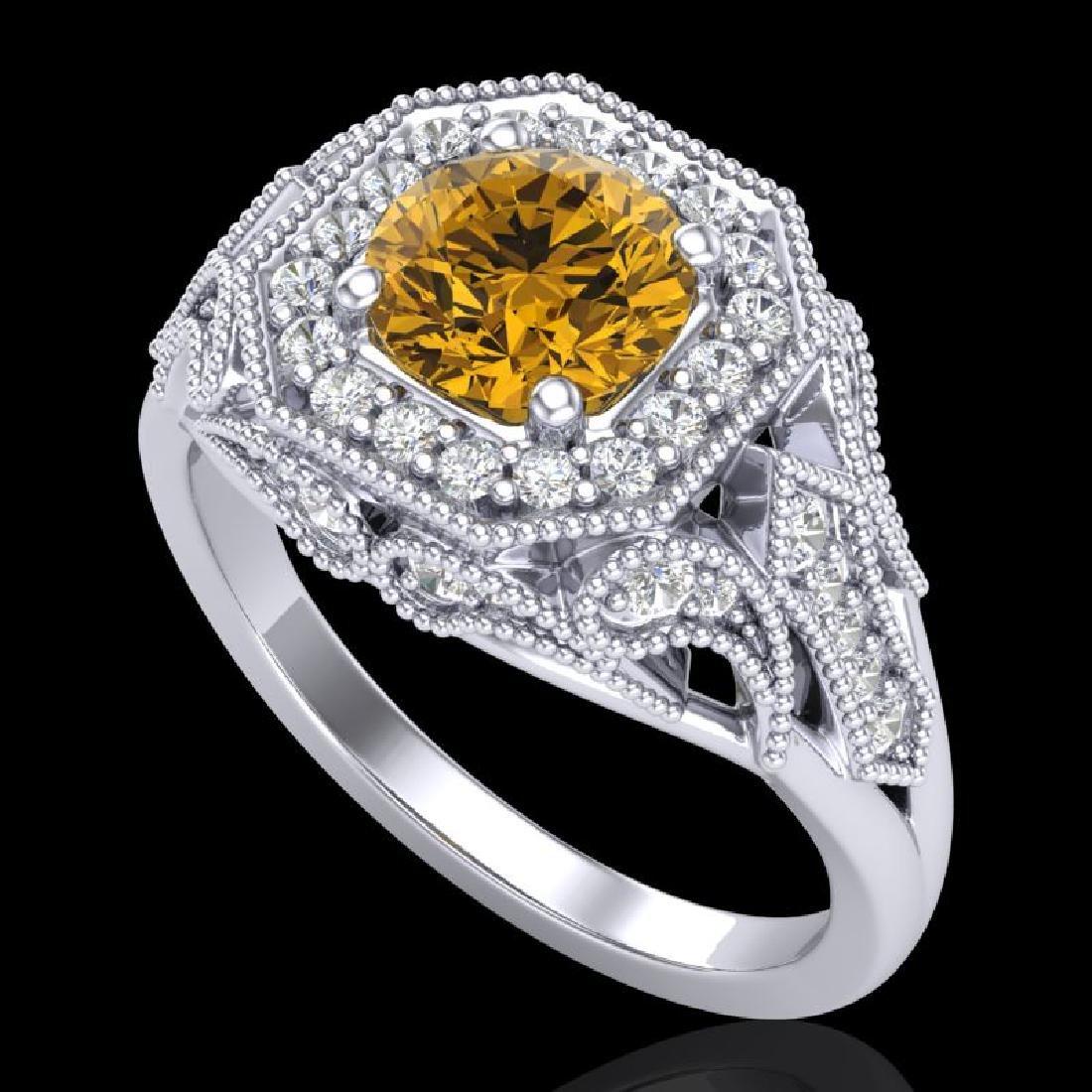 1.75 CTW Intense Fancy Yellow Diamond Engagement Art