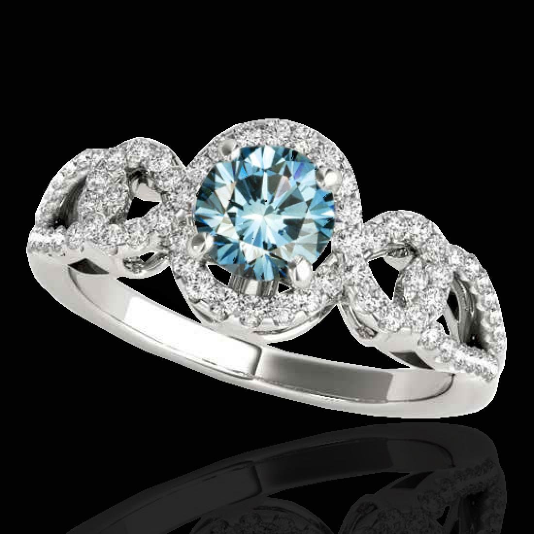 1.38 CTW SI Certified Fancy Blue Diamond Solitaire Halo