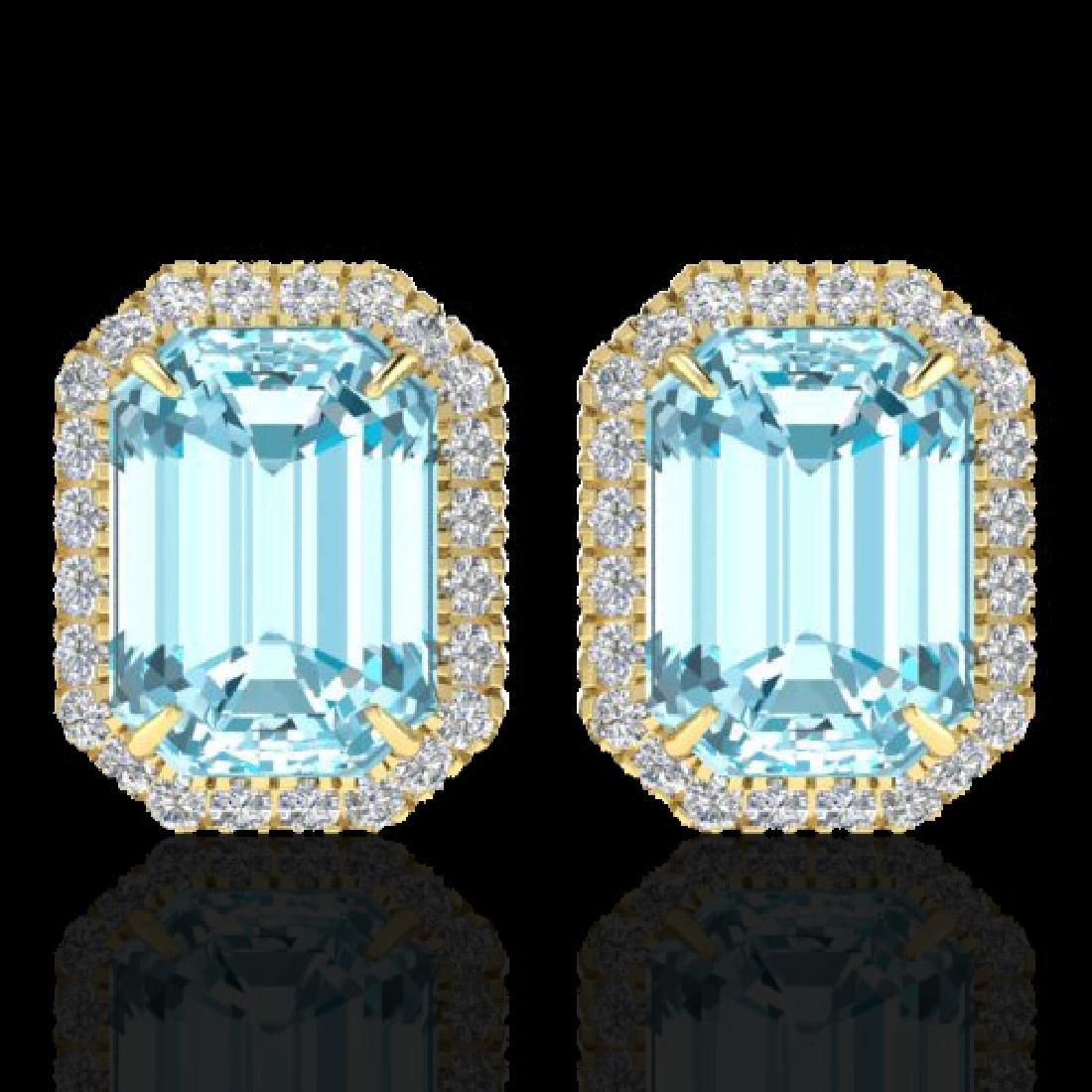 12 CTW Sky Blue Topaz And Micro Pave VS/SI Diamond Halo