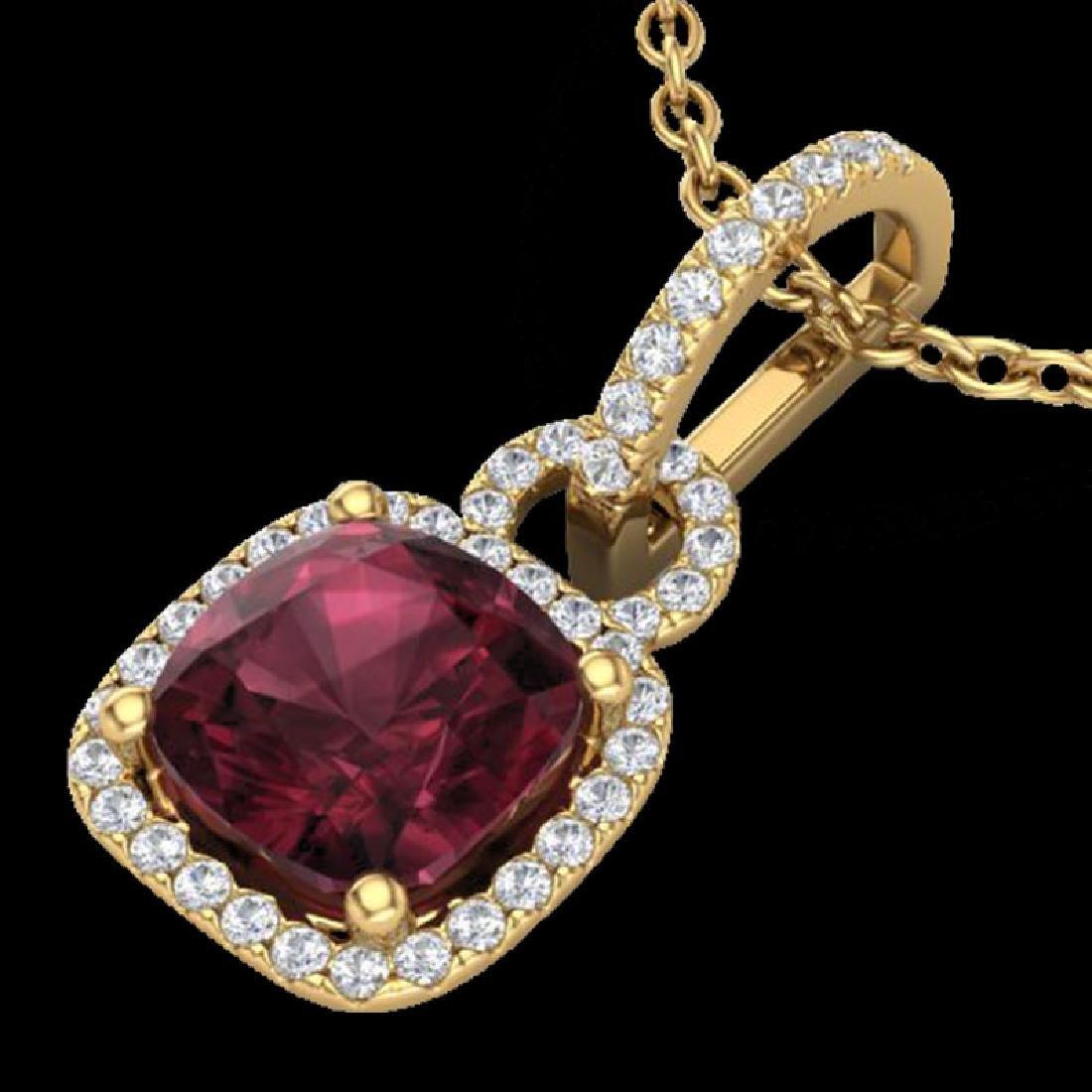 3.50 CTW Garnet & Micro VS/SI Diamond Necklace 18K