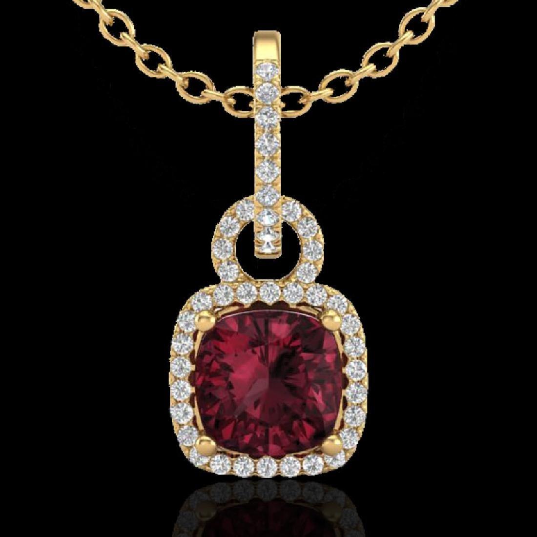 3.50 CTW Garnet & Micro VS/SI Diamond Necklace 18K - 2