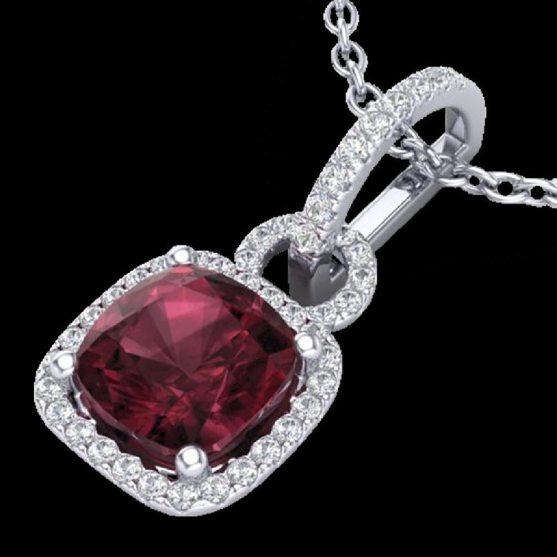 3.50 CTW Garnet & Micro VS/SI Diamond Necklace 18K