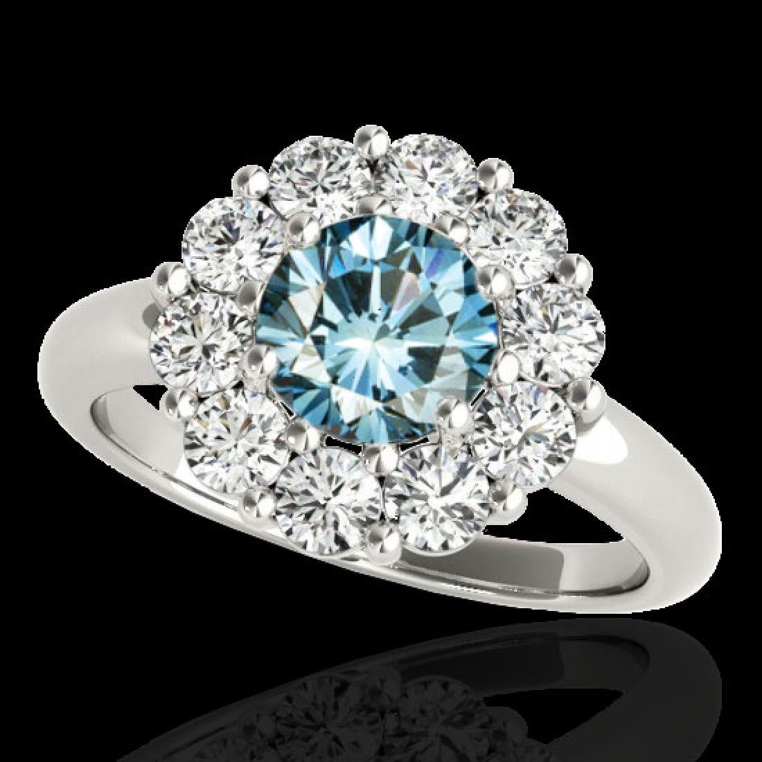 2.85 CTW SI Certified Fancy Blue Diamond Solitaire Halo