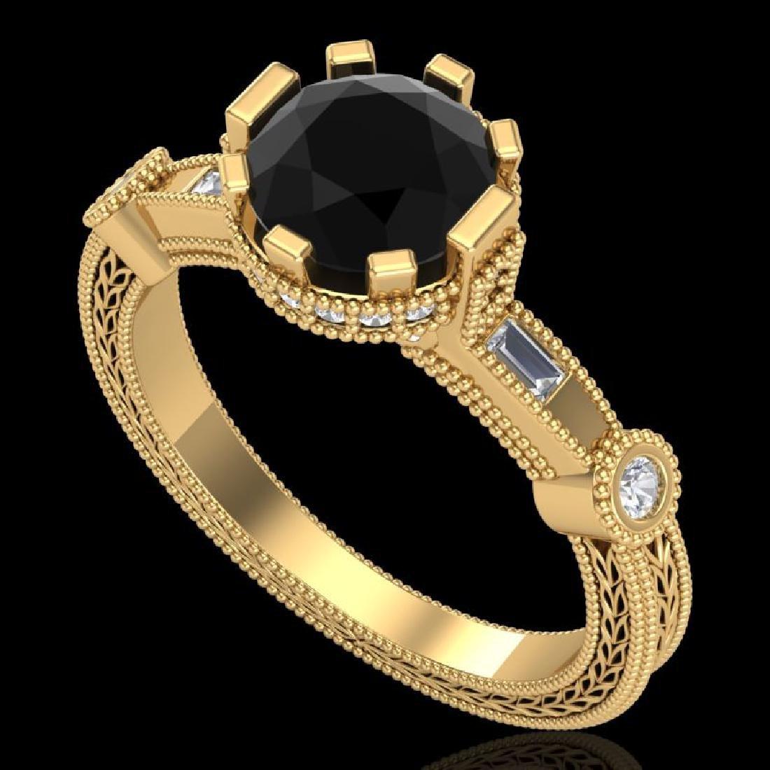 1.71 CTW Fancy Black Diamond Solitaire Engagement Art