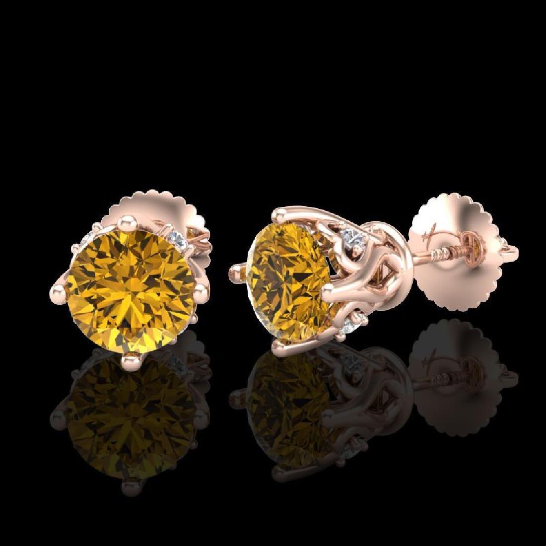 1.26 CTW Intense Fancy Yellow Diamond Art Deco Stud - 2