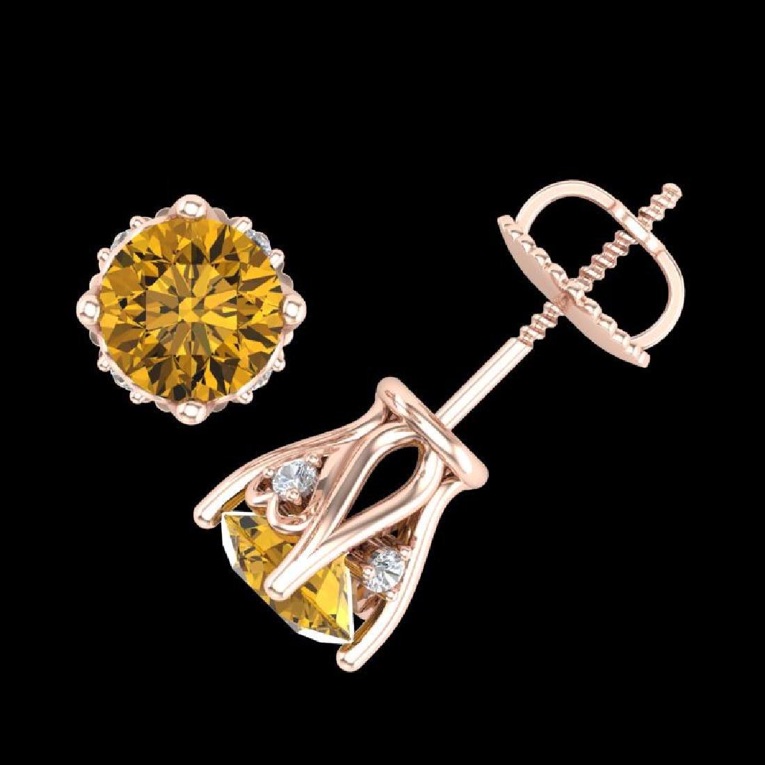 1.26 CTW Intense Fancy Yellow Diamond Art Deco Stud - 3