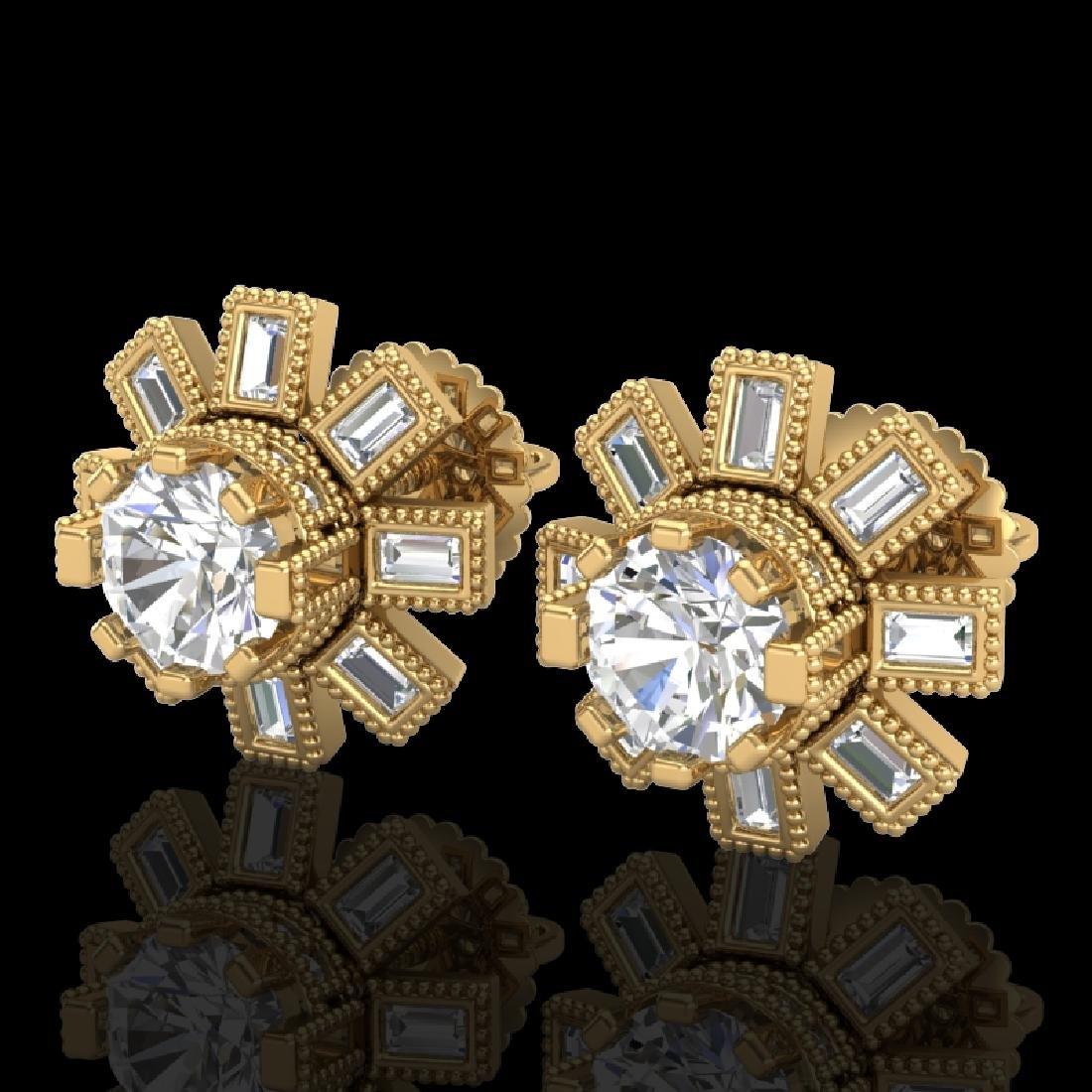 1.77 CTW VS/SI Diamond Solitaire Art Deco Stud Earrings