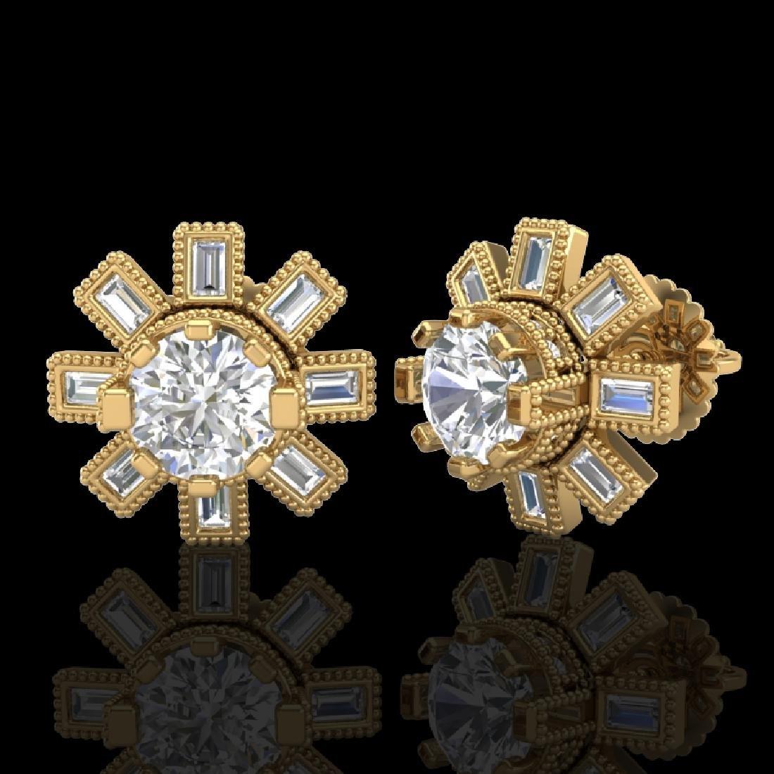 1.77 CTW VS/SI Diamond Solitaire Art Deco Stud Earrings - 2
