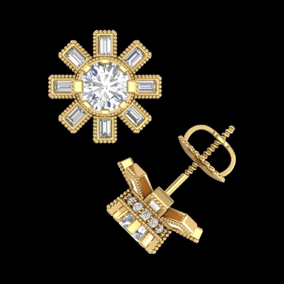 1.77 CTW VS/SI Diamond Solitaire Art Deco Stud Earrings - 3