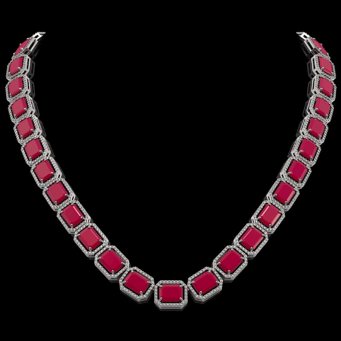 84.94 CTW Ruby & Diamond Halo Necklace 10K White Gold