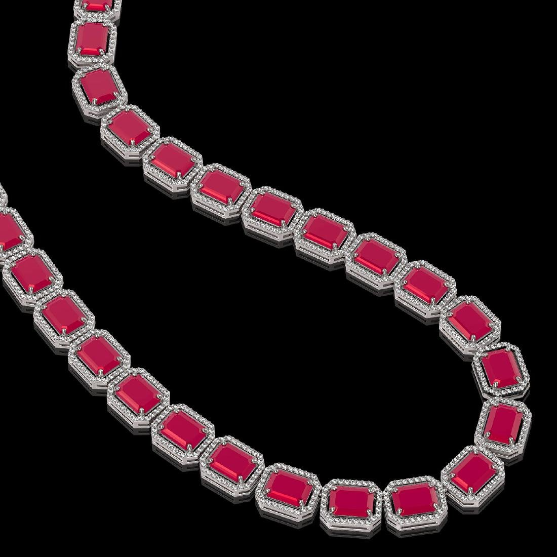 84.94 CTW Ruby & Diamond Halo Necklace 10K White Gold - 2