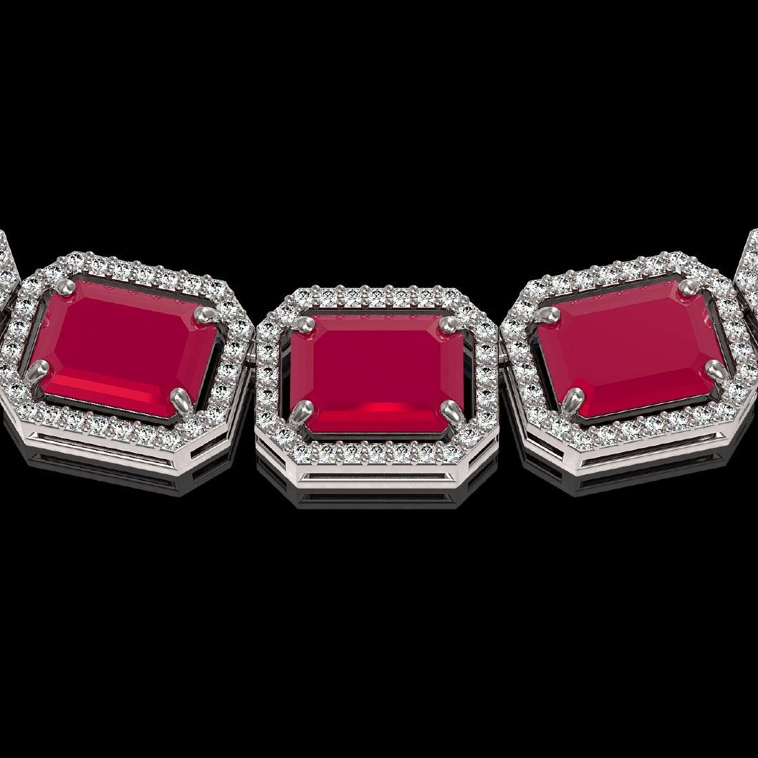 84.94 CTW Ruby & Diamond Halo Necklace 10K White Gold - 3