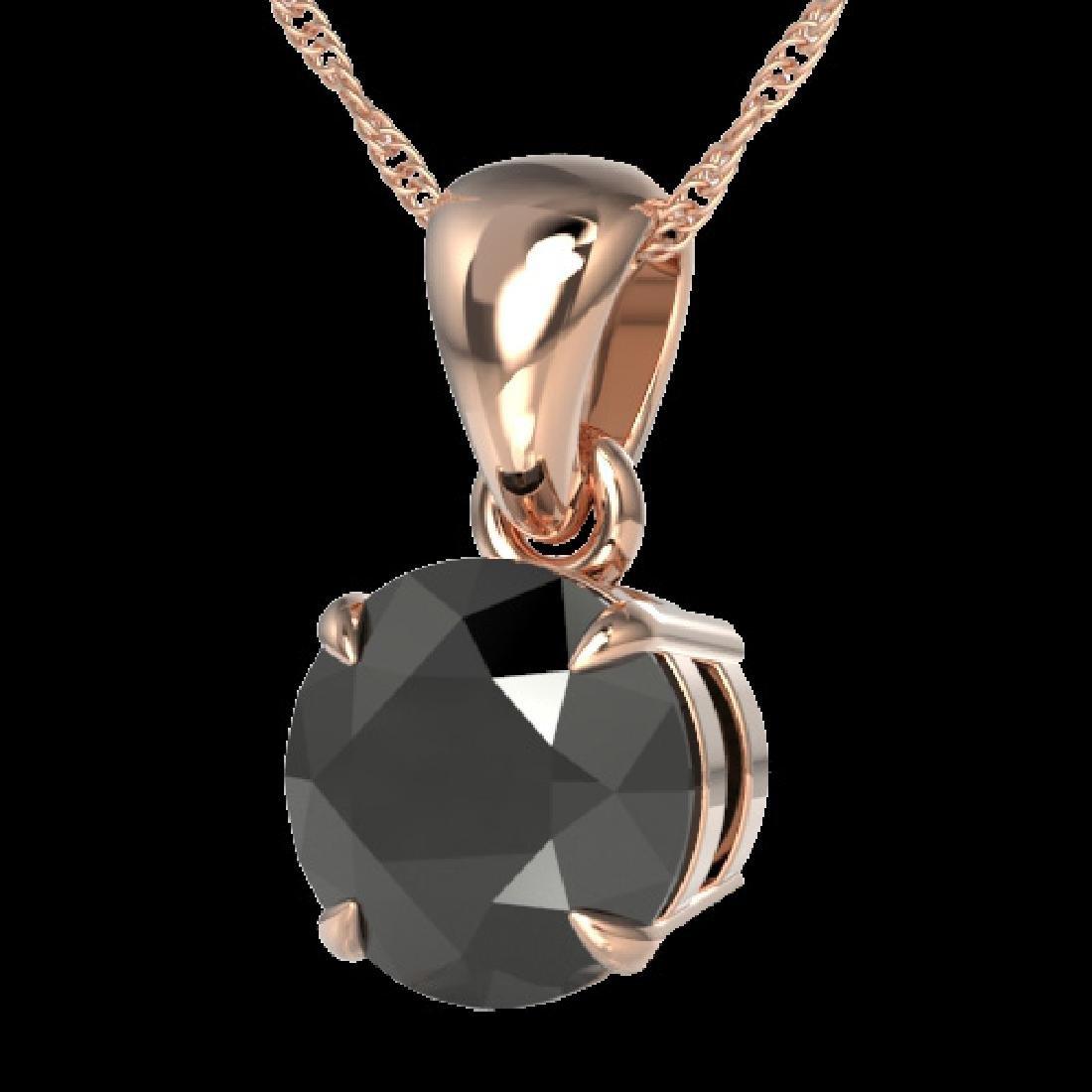 2 CTW Black VS/SI Diamond Inspired Solitaire Necklace - 2