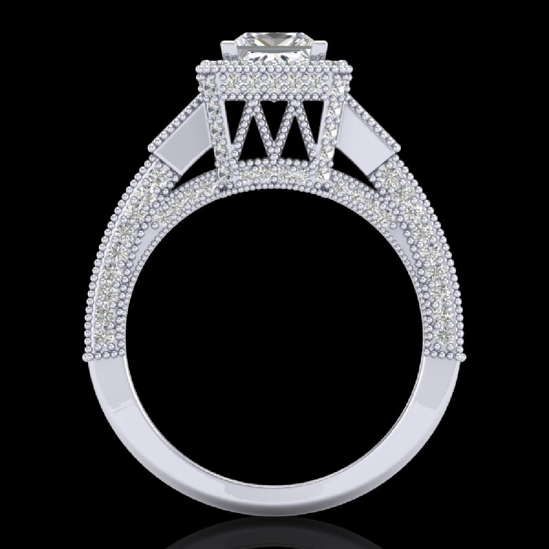 3.53 CTW Princess VS/SI Diamond Micro Pave 3 Stone Ring