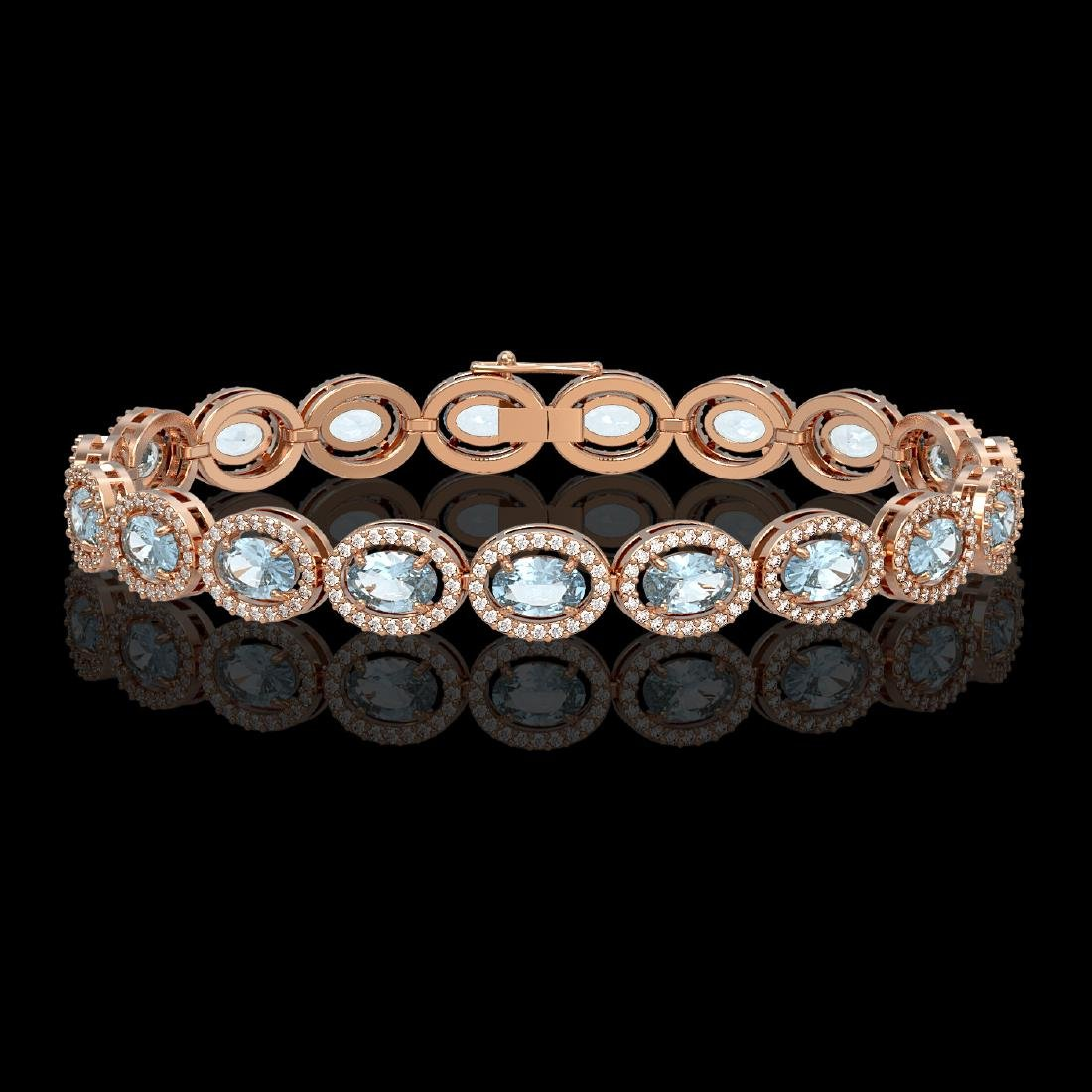 11.02 CTW Aquamarine & Diamond Halo Bracelet 10K Rose