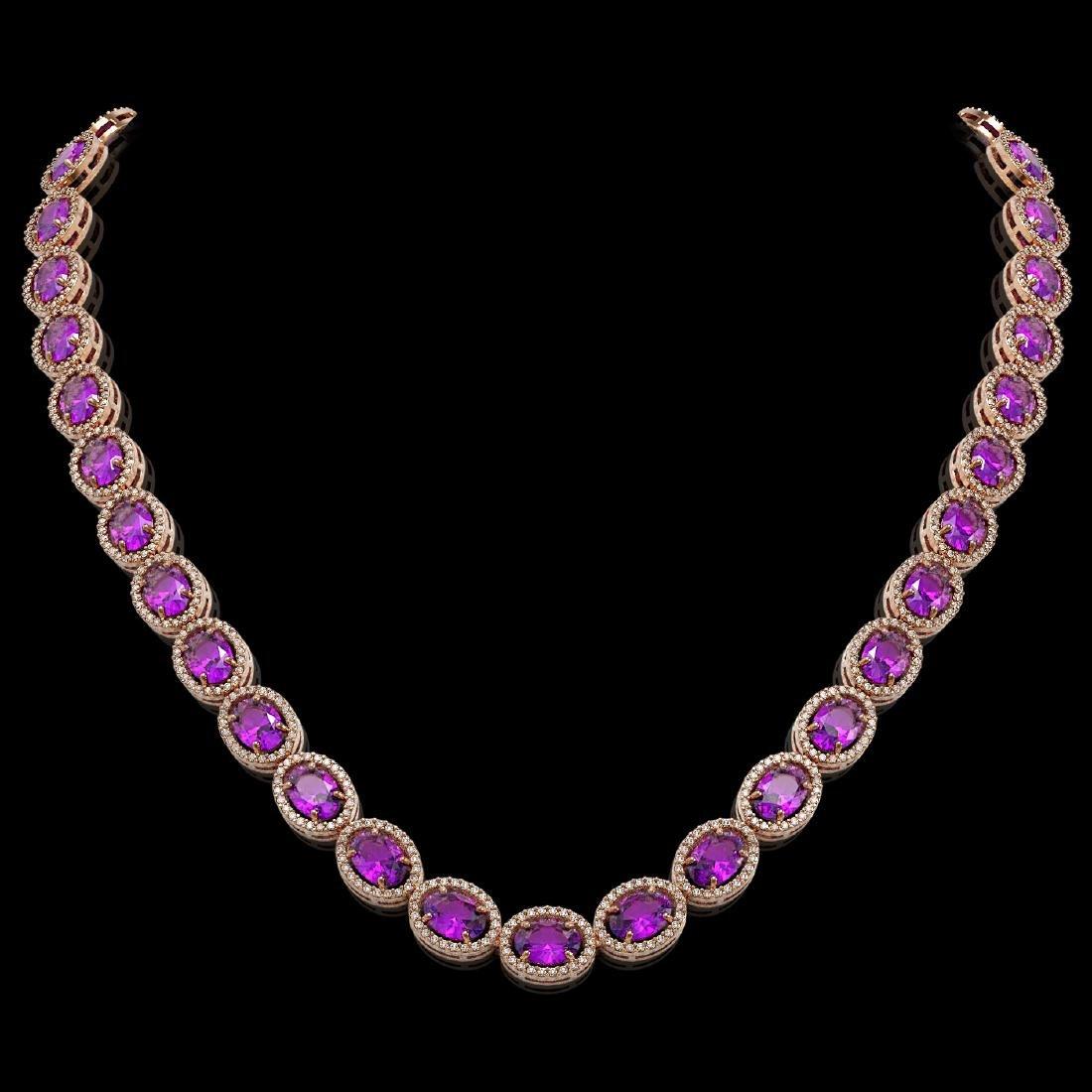 45.16 CTW Amethyst & Diamond Halo Necklace 10K Rose