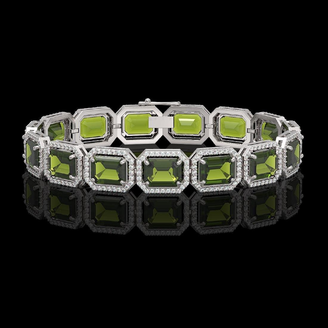 36.51 CTW Tourmaline & Diamond Halo Bracelet 10K White