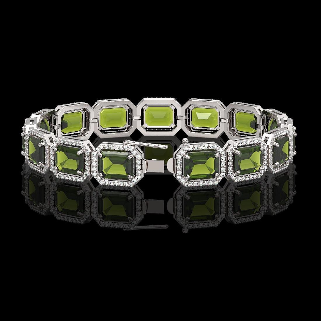 36.51 CTW Tourmaline & Diamond Halo Bracelet 10K White - 2