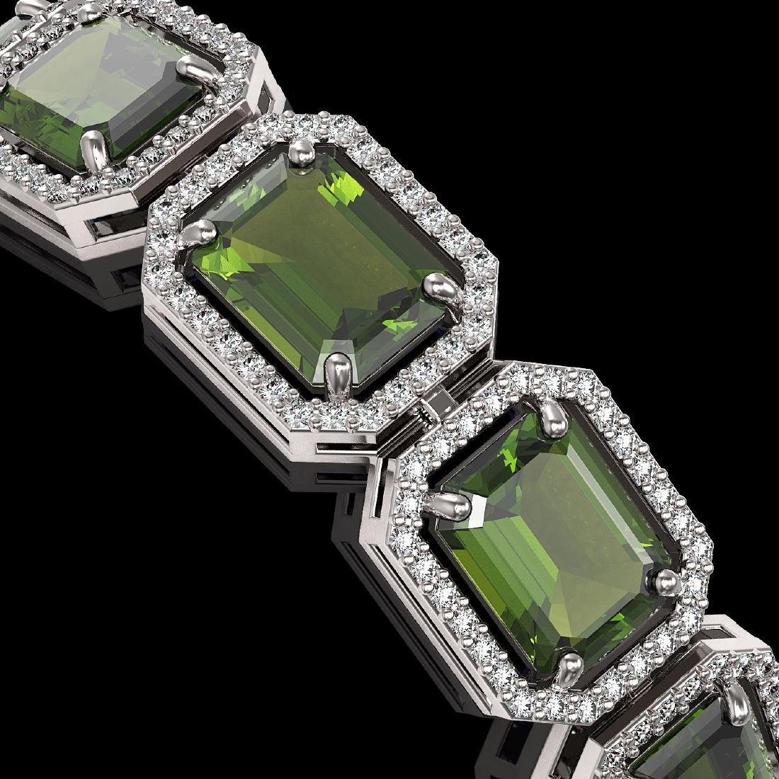 36.51 CTW Tourmaline & Diamond Halo Bracelet 10K White - 3