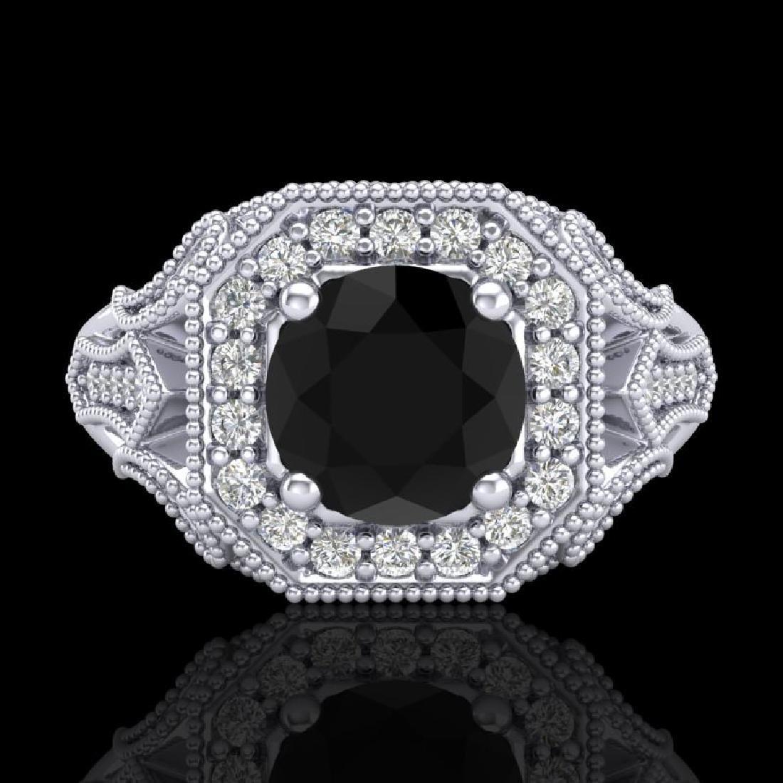 1.75 CTW Fancy Black Diamond Solitaire Engagement Art - 2