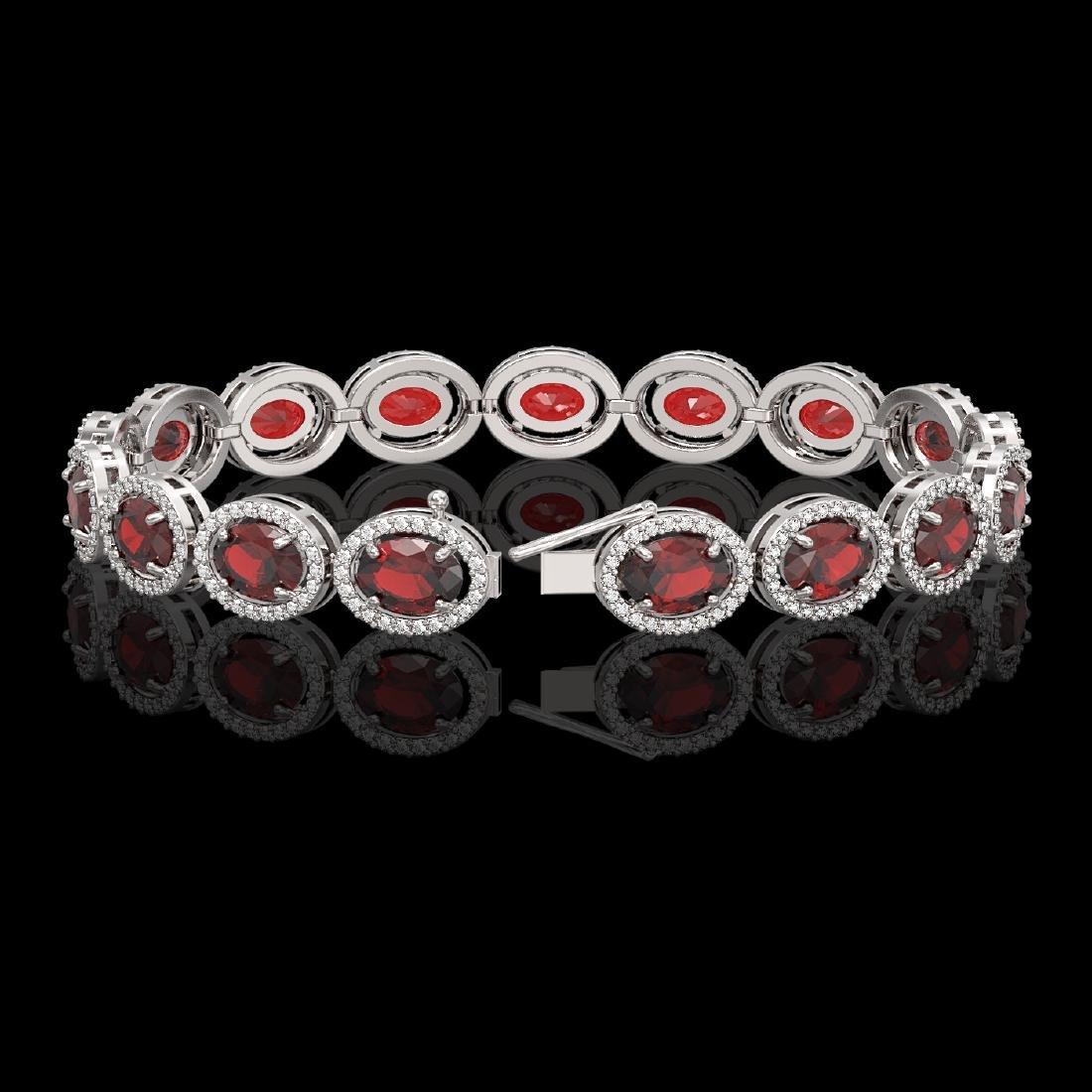 21.98 CTW Garnet & Diamond Halo Bracelet 10K White Gold - 2