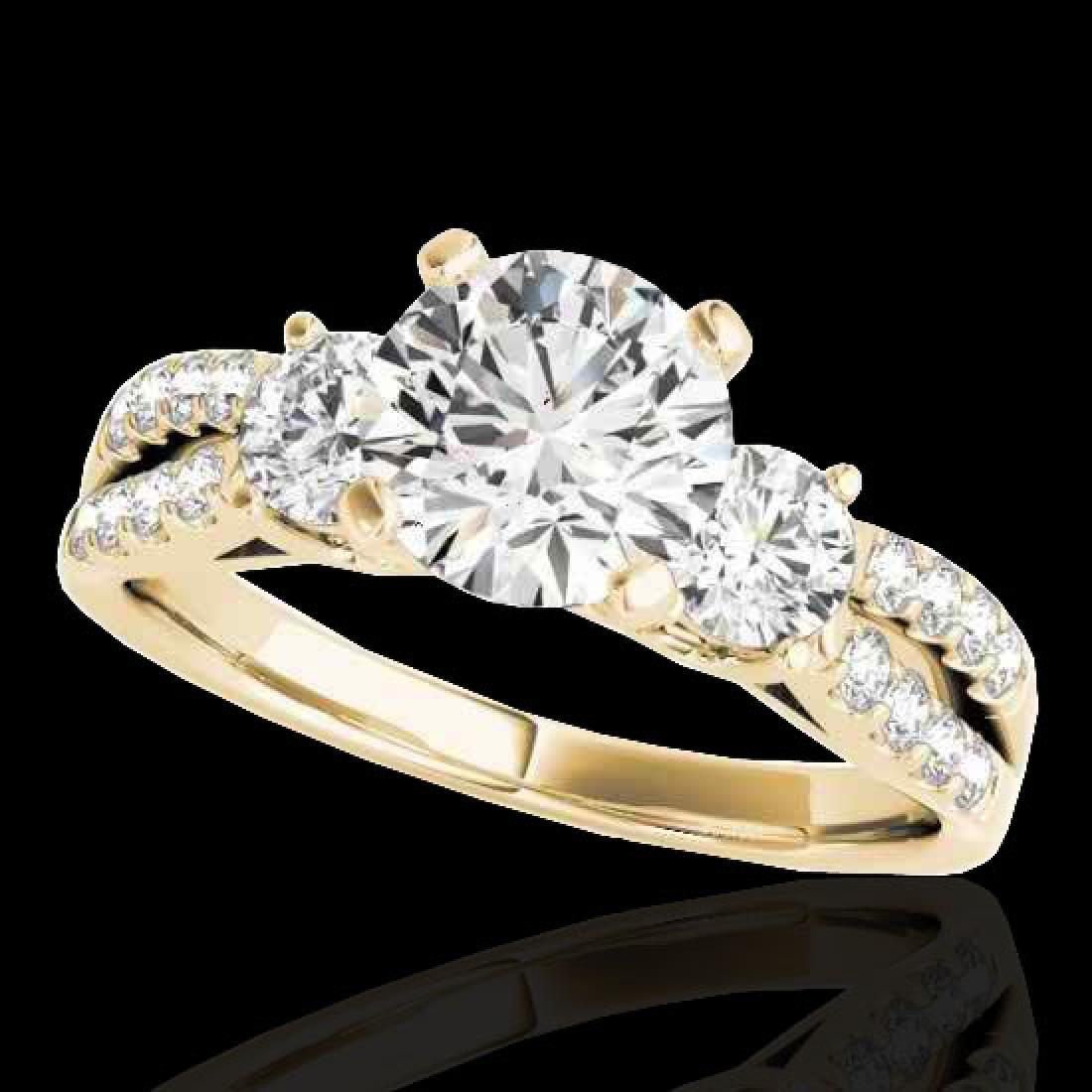 1.5 CTW H-SI/I Certified Diamond 3 Stone Ring 10K