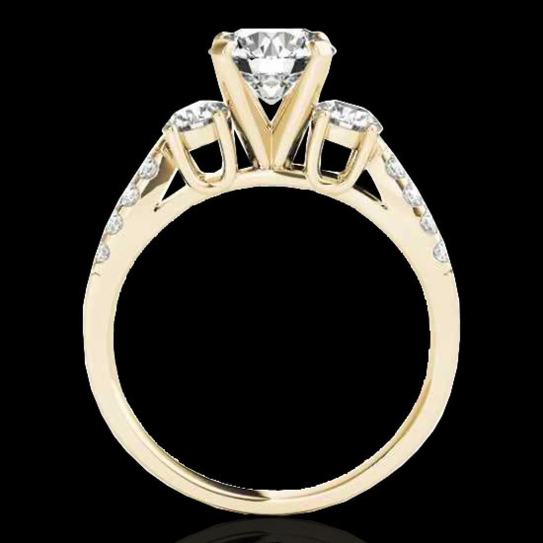 1.5 CTW H-SI/I Certified Diamond 3 Stone Ring 10K - 2