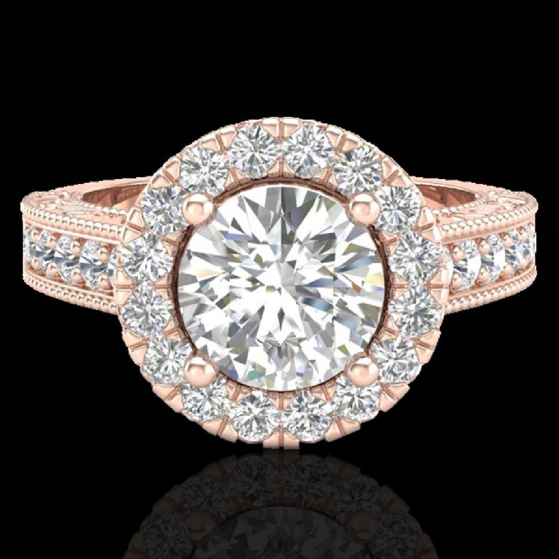 2.25 CTW Vintage VS/SI Diamond Engagement Halo Ring 14K