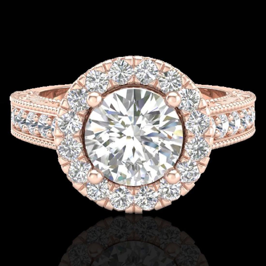 2.25 CTW Vintage VS/SI Diamond Engagement Halo Ring 14K