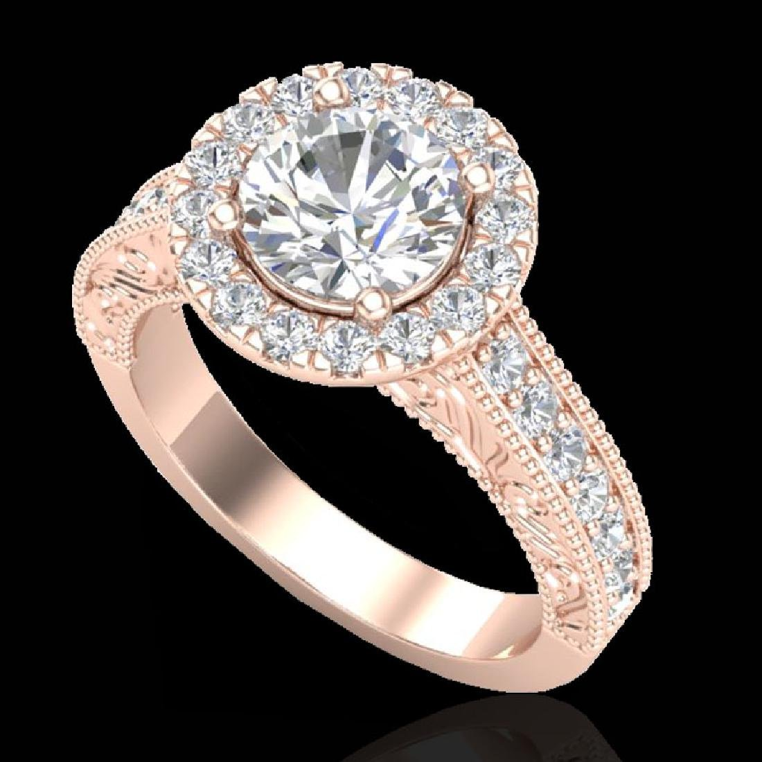 2.25 CTW Vintage VS/SI Diamond Engagement Halo Ring 14K - 2