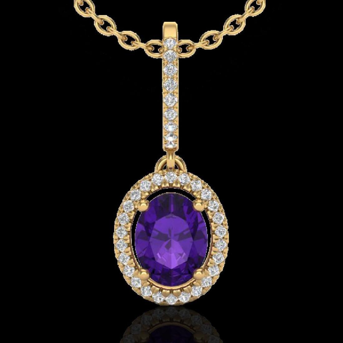 1.75 CTW Amethyst & Micro Pave VS/SI Diamond Necklace