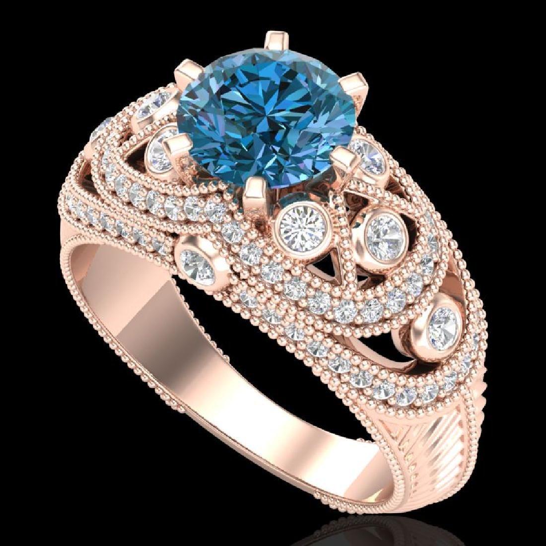 2 CTW Intense Blue Diamond Solitaire Engagement Art