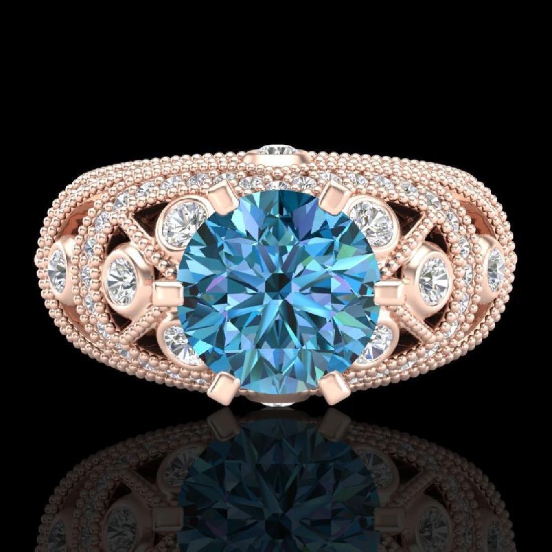 2 CTW Intense Blue Diamond Solitaire Engagement Art - 2