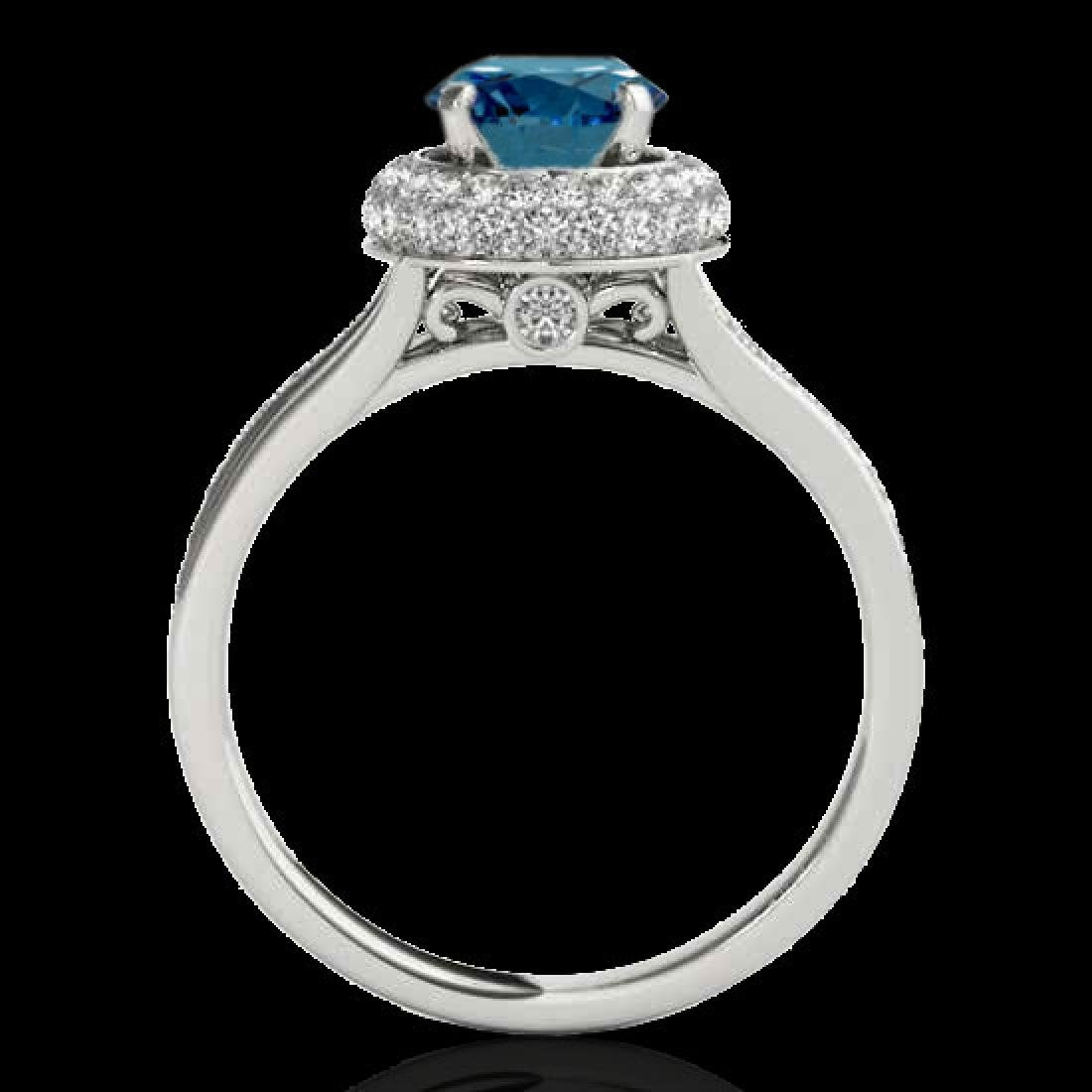 1.85 CTW SI Certified Fancy Blue Diamond Solitaire Halo - 2