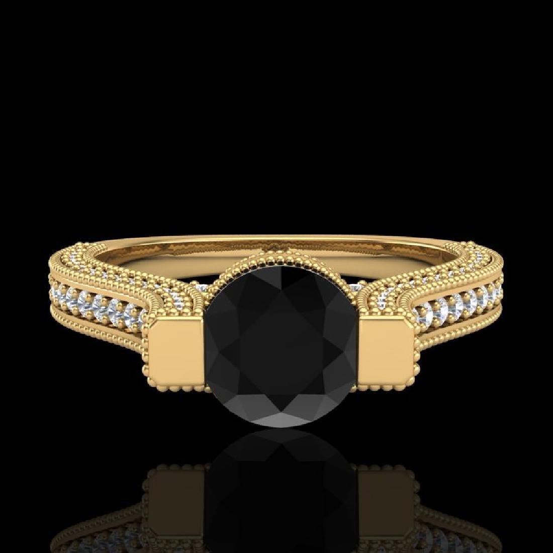 2 CTW Fancy Black Diamond Solitaire Engagement Micro - 2