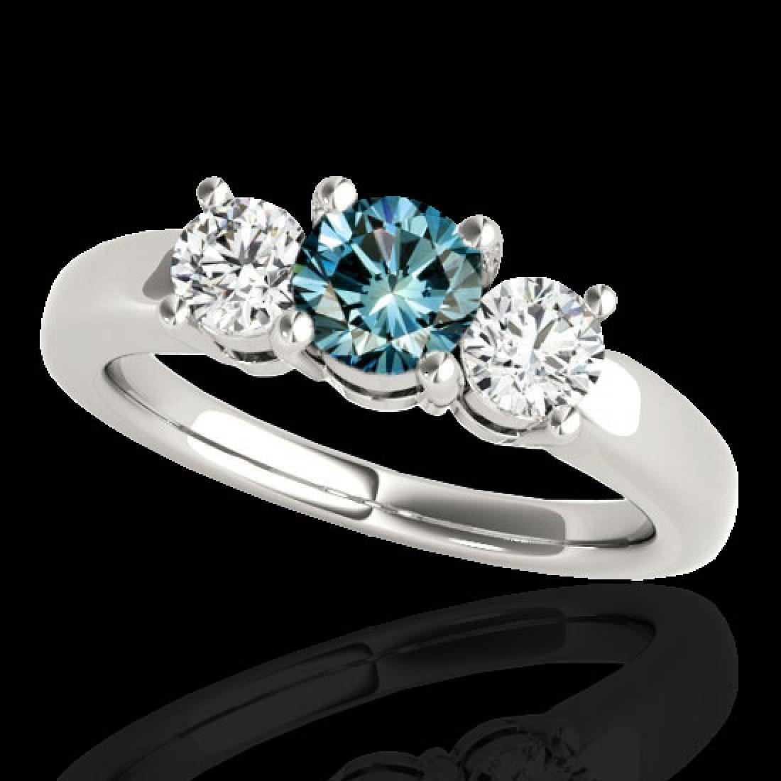 2 CTW SI Certified Fancy Blue Diamond 3 Stone Solitaire