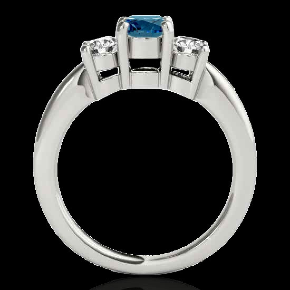 2 CTW SI Certified Fancy Blue Diamond 3 Stone Solitaire - 2