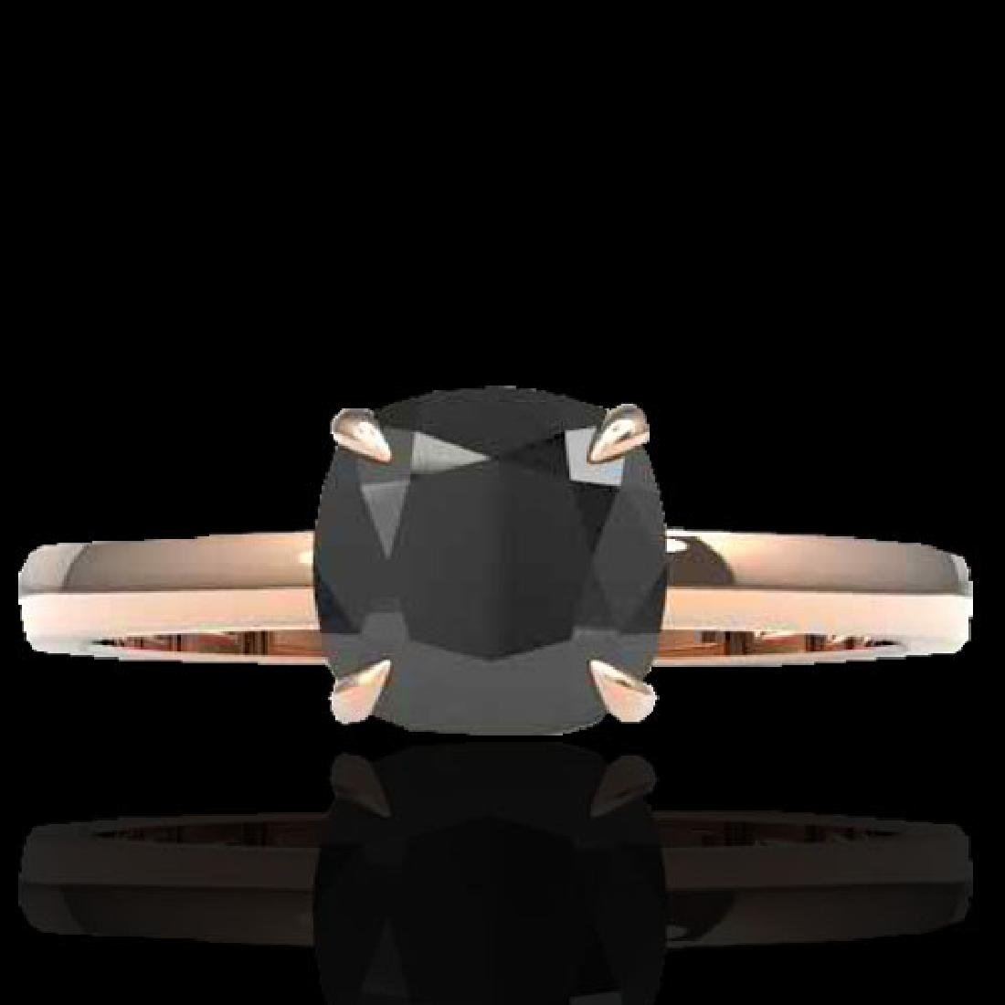 3 CTW Cushion Cut Black VS/SI Diamond Solitaire