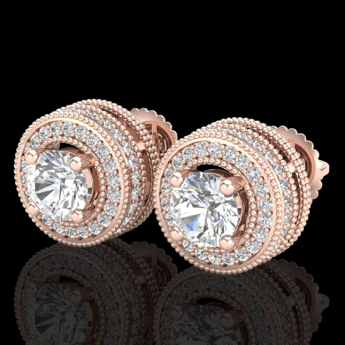 2.09 CTW VS/SI Diamond Solitaire Art Deco Stud Earrings