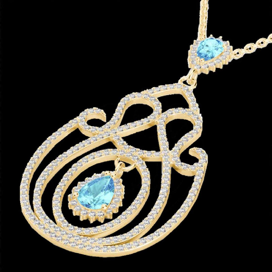 3.20 CTW Sky Blue Topaz & Micro VS/SI Diamond Heart - 2