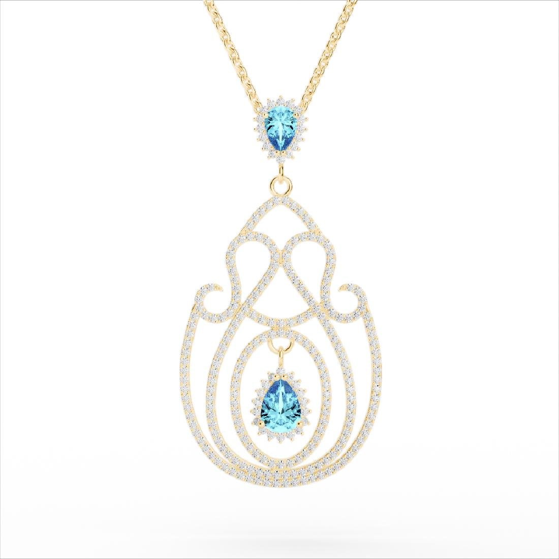 3.20 CTW Sky Blue Topaz & Micro VS/SI Diamond Heart - 3