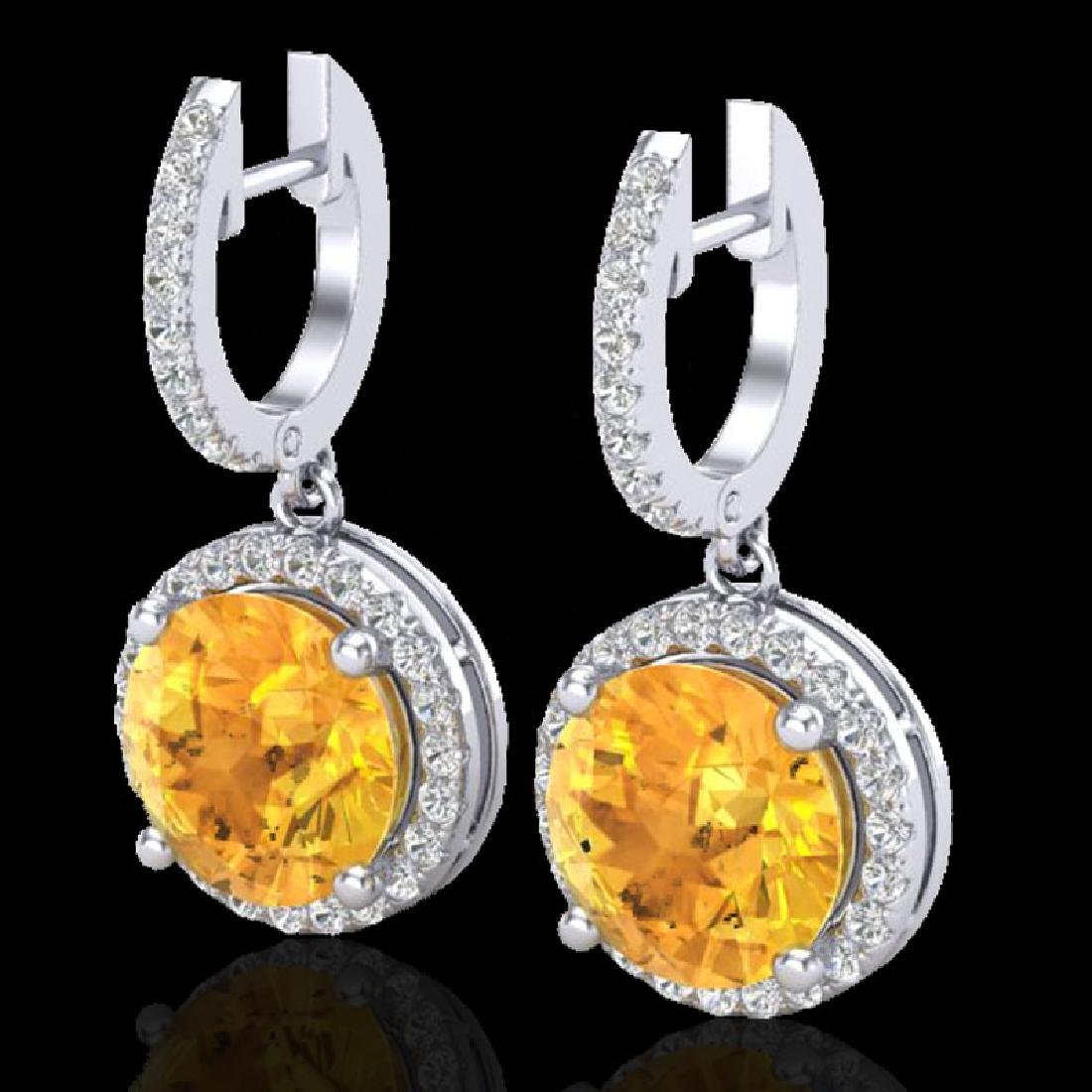 4 CTW Citrine & Micro Pave VS/SI Diamond Designer Halo