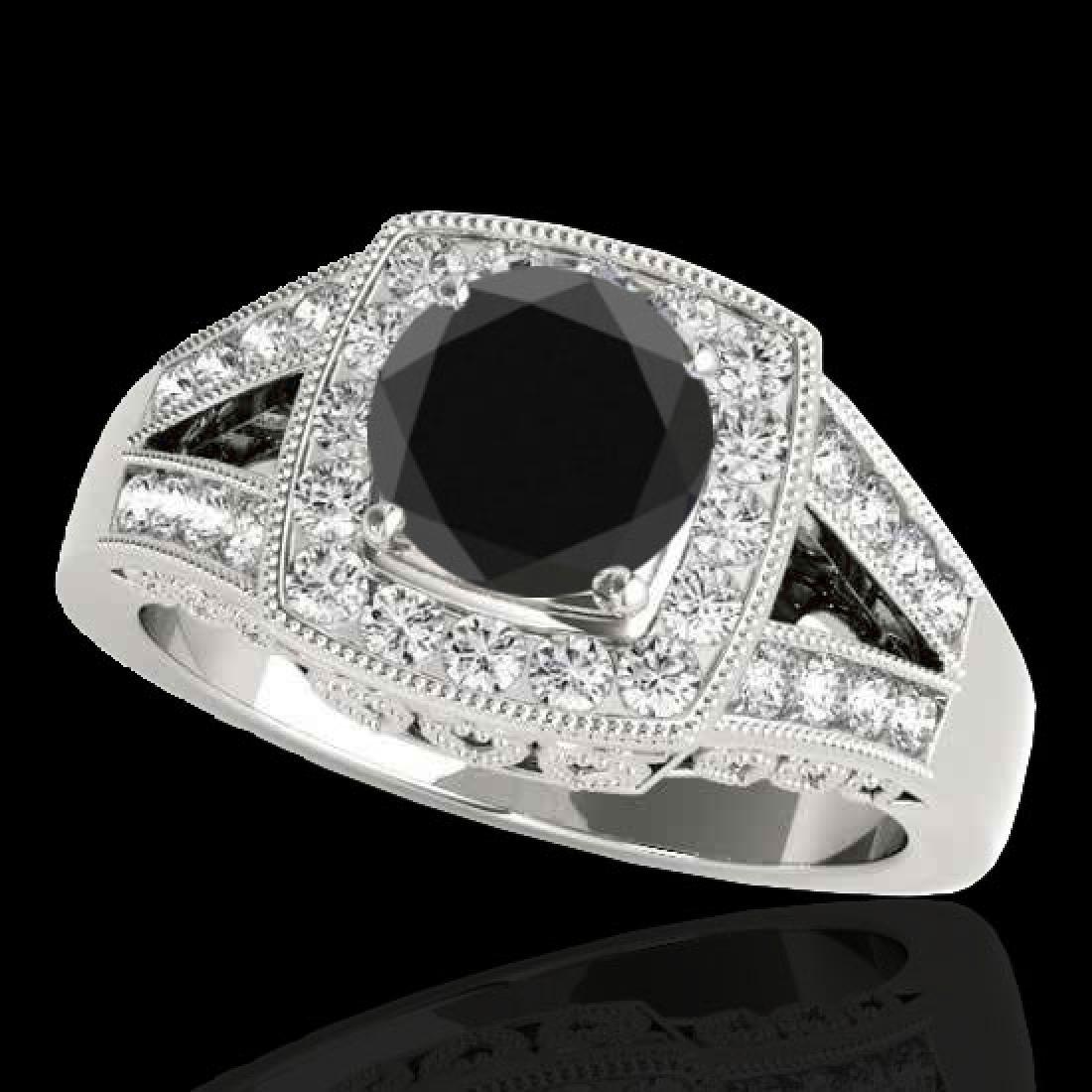 1.65 CTW Certified VS Black Diamond Solitaire Halo Ring