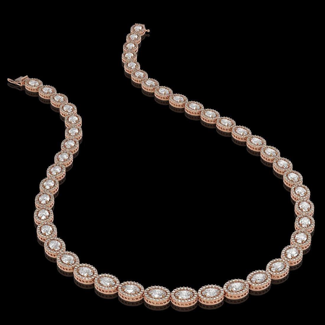 30.41 CTW Oval Diamond Designer Necklace 18K Rose Gold - 2