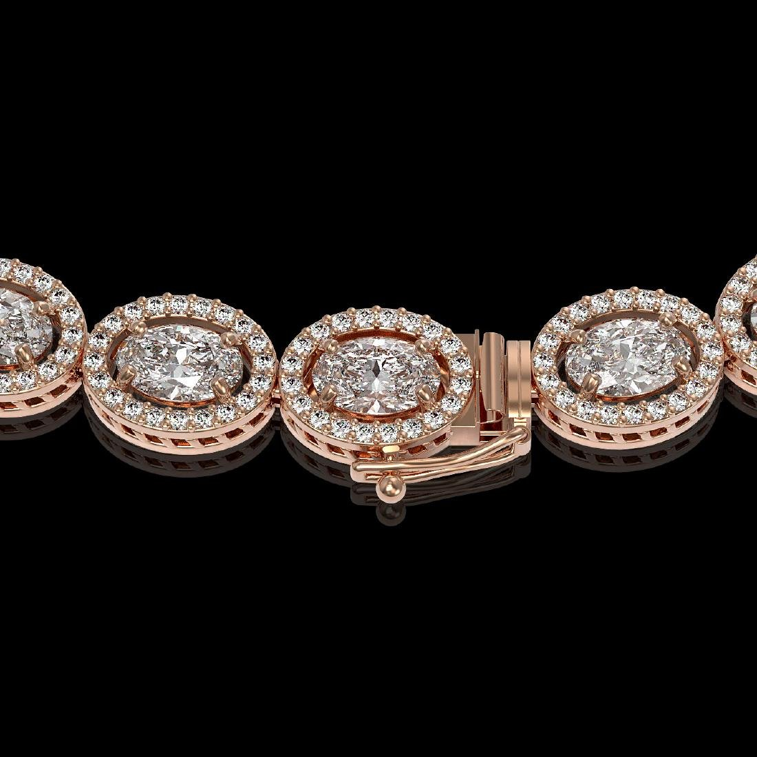 30.41 CTW Oval Diamond Designer Necklace 18K Rose Gold - 3